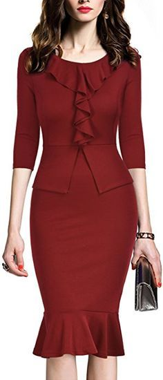 REPHYLLIS Women's Vintage One Piece Office Wear To Work Pencil Dress - best woman's fashion products designed to provide - Work Outfits Women Office Dresses, Office Outfits, Office Wear, Dresses For Work, Casual Office, Office Attire, Stylish Office, Office Style, Women's Dresses