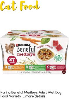 (This is an affiliate pin) Flavor Name:Variety Pack|Size:(2 Packs of 27) 3 oz. CansFor an assortment of flavors at mealtime that your dog is sure to enjoy, mix any of the delicious recipes from our Purina Beneful Medleys adult wet dog food variety pack in with your dog's daily dry dog food, or feed it alone to tempt his taste buds with new experiences inspired from around the world. Tender chunks of real beef, chicken or lamb blend with real vegetables and whole grains, such as pasta, as…
