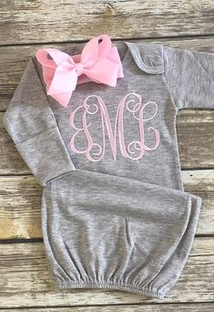 Baby Girl Gown Infant Gown Personalized Gown Baby Gown Monogramed gown Coming Home Outfit Baby Girl Going Home - Name Baby Girl - Ideas of Name Baby Girl - Baby Girl Gown Infant Gown Personalized Gown Baby Gown Baby Girl Fashion, Fashion Kids, Fashion Spring, Fashion Outfits, Baby Gap, Carters Baby, Gowns For Girls, Baby Girl Gowns, Baby Monogram