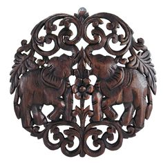 Circular Double Thai Elephant Hand Carved Wood Wall Art (Thailand) - Overstock™ Shopping - Top Rated Wall Hangings