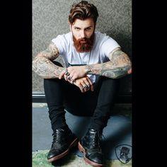 Levi Stocke - full thick dark red beard and mustache beards bearded man men mens' street style fashion clothing tattoos tattooed ginger redhead auburn handsome #beardsforever