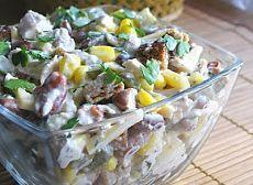 Салат с курицей, фасолью и сыром! Незамысловатый салатик из простых ингредиентов, но очень и очень вкусный – совершенно не пресный, сытный и довольно пикантный...