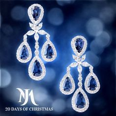 Our Little Holiday Magic starts today.   These Morays White Gold Blue Sapphire Diamond Chandelier Earrings shine with sophistication. Eight sapphire gems adorn each ear in an elegant chandelier setting of 18 carat white gold studded with lustrous diamonds.  For a price inquiry , please visit Morays or call Morays at (305) 374-0739 to speak with a jewelry specialist.