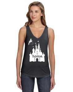 DisGear Women's Disney Is My Home V-Neck Tank Heather Charcoal Small
