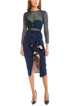 self-portrait Ruffled Midi Dress | Blue&Cream