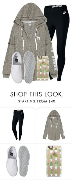 """""""Back at it again with the white vans"""" by madelyn-abigail ❤ liked on Polyvore featuring NIKE, Vans and Casetify"""
