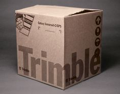 Client: Trimble Navigation, GPS technology provider. Project: Corporate identity including logo redesign, stationery system,  corporate collateral, tradeshows, signage, and packaging (shown).