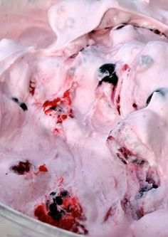 Creamy Berry Goodness ~ Frozen Mixed Berries, 1 Tub Cool Whip, 1 Large Container Vanilla Yogurt, 1 Small Package of Cheesecake Pudding Mix (dry), Mix & Chill. Just Desserts, Delicious Desserts, Yummy Food, Fluff Desserts, Tasty, Pink Desserts, Jello Desserts, Frozen Desserts, Desert Recipes