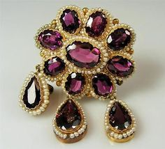 Antique 14k Yellow Gold Brooch w/ Rhodolite Garnets & Seed Pearls circa 1880