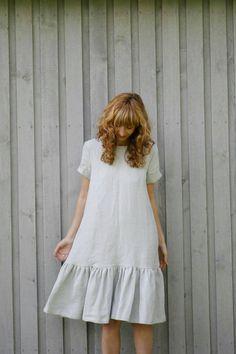 Linen Frill Dress Loose Fit Dress Light Grey Linen Dress