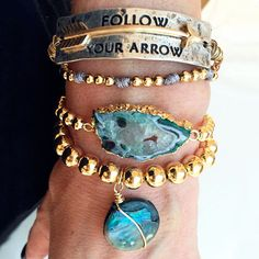 Set By Vila Veloni Turquoise Bracelets Antique Arrow