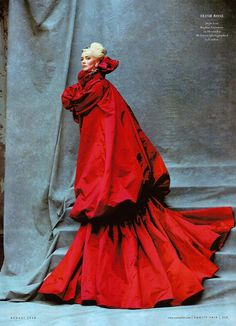 skaodi:  Daphne Guinness wears Alexander McQueen in 'Study in Scarlet' photographed by Michael Roberts for Vanity Fair September 2008.