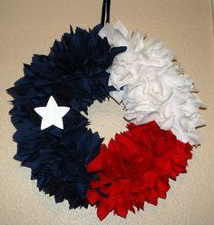 Fabric Wreaths | Texas Flag Fabric Wreath by WreathsByRoeAnne on Etsy