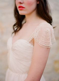 Top Wedding Dresses. We adore this delicate sweet-heart neckline and cap sleeve design by Sarah Seven designs.