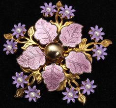 Vintage Art Deco Shades of Purple Flower Brooch by sevvy253