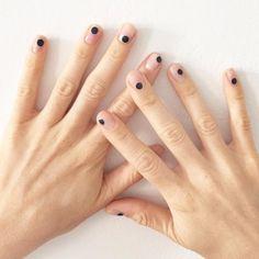 Nude + black dot nail art