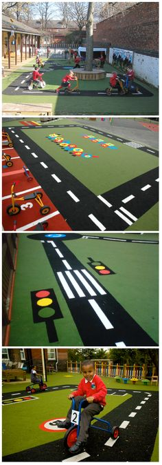 Our playground roadway surfacing, helps teach children about the 'rules of the road' and helps highlight the importance of different roadway signs, crossings and traffic lights. http://www.pentagonplay.co.uk/products/surfacing-and-landscaping/saferturf/saferturf-roadway-per-m #roadsafetyweek