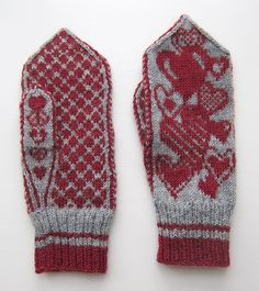 pattern knit mittens heart - Google-søk