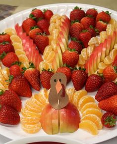 """Turkey Fruit Tray - No instructions - Just """"as you see-do!"""" A healthy and nice array of colorful fruit."""