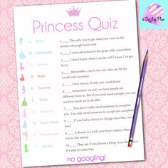 For the Disney lover- a fun addition to any Bridal Shower or Baby Shower! A Princess quiz with ten matching questions asking the guests to connect the Princess with their Famous Qoutes! This can be customized to meet your needs-just message me with any questions you might have... Once you purchase this $2.00 listing, your digital file will be automatically sent to you! There is no need for editing- answers are also included on a second page! *** Please keep in mind ALL printers and monito...