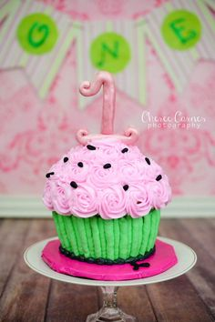 watermelon cake smash oversized cupcake Facebook.com/debbiekayscakes Cheree Carnes Photography