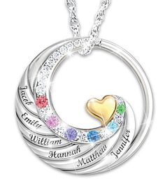 """Sterling Silver Necklace for mom with up to 6 kids names and birthstones.  Love the way the names swirl up to join the gold mother's heart in the center!  Engraved with the phrase, """"A mother's heart holds her family's love forever""""."""
