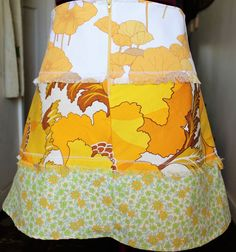 Boho, vintage, retro, ladies size au 10 to 12, A-line panelled skirt, bold, funky,vintage cottons,lined, one of a kind, unique, summer skirt by mamma5design on Etsy