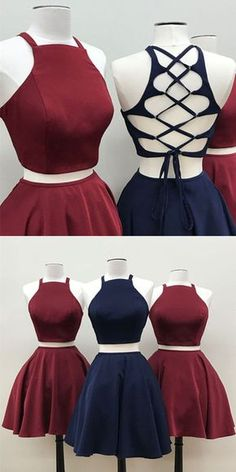 Back to School Outfits two piece homecoming dress,short satin prom dress,cross back cocktail dress,semi formal dress,short prom dresses to school dresses Cute Prom Dresses, Prom Dresses 2018, Grad Dresses, Pretty Dresses, Evening Dresses, Casual Dresses, Elegant Dresses, Sexy Dresses, School Dresses
