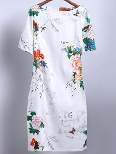 4ef5f246e Shop White Short Sleeve Floral Butterfly Print Dress online. SheIn offers White  Short Sleeve Floral