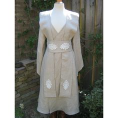 Made to order Natural linen Star Wars inspired Jedi robe,dress,gown... ❤ liked on Polyvore featuring costumes, star wars halloween costumes, sash belt, pixie halloween costumes, star wars costumes and pixie costume
