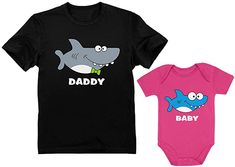 Amazon.com: Matching Shark Shirts for Daddy and Baby Set Funny Newborn and Dad Outfits Gift: Clothing Baby Daddy Shirt, Dad Baby, Baby Shark Doo Doo, Shark Shirt, Kids Boxing, Cheap T Shirts, Bodysuit, Funny, Baby Set
