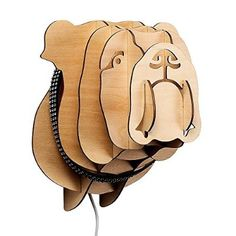 Designer Style Slot-Together Wooden Pug Boxer Dog Head LED Wall Light with Cable, Plug and Switch