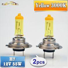 2 PCS(1 Pair) Yellow H7 Halogen Bulb 12V 55W 3000K Quartz Glass Xenon Car HeadLight Auto Lamp