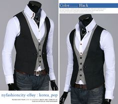 NYfashioncity K-Pop Style Mens vest double layered dress vests for men black