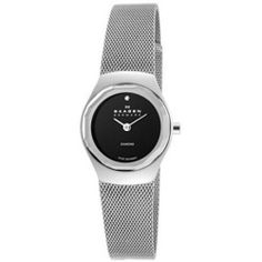 Skagen Black Dial Stainless Steel Ladies Watch 432SSSB
