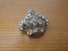 antique rhinestone crown pin.
