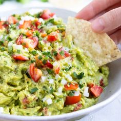 This Homemade Guacamole recipe is the absolute BEST healthy dip and is our go-to party snack or Cinco de Mayo appetizer. Learn how simple it is to make guacamole with ripened avocados and a few other easy-to-find ingredients! Healthy Dips, Healthy Recipes, Healthy Zucchini, How To Make Guacamole, Mexican Food Recipes, Ethnic Recipes, Snacks Für Party, Clean Eating Snacks, Easy Meals