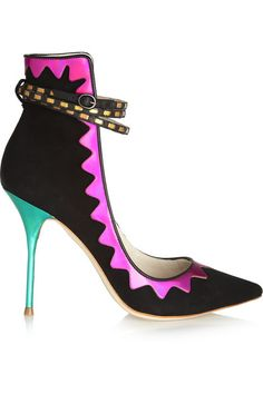 Heel measures approximately 100mm/ 4 inches Black suede Multicolored iridescent mirrored leather Buckle-fastening ankle strap