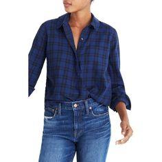 Women's Madewell Plaid Faux Wrap Shirt (670 SEK) ❤ liked on Polyvore featuring tops, dark river, tartan shirt, cotton shirts, plaid shirts, madewell tops and blue print top