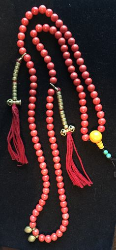 A Tibetan coral mala prayer beads