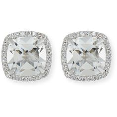 Frederic Sage 18K White Gold White Topaz Diamond Halo Stud Earrings (£1,160) ❤ liked on Polyvore featuring jewelry, earrings, frederic sage jewelry, 18k white gold earrings, stud earrings, white topaz earrings and frederic sage