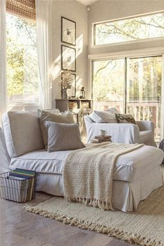 Book basket, high ceiling, muted colors, reading chaise Cottage Bedroom Decor, Shabby Chic Bedroom Furniture, Cottage Style Bedrooms, Cottage Rugs, Cottage Style Furniture, Shabby Chic Decor Living Room, Cozy Furniture, Cottage Living Rooms, Cottage Style Decor