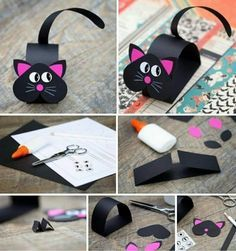 Cute Black Pink Paper Cat Craft - Her Crochet Preschool Crafts, Diy Crafts For Kids, Arts And Crafts, Simple Crafts, Kids Diy, Summer Crafts, Fabric Crafts, Paper Crafts, Paper Animals