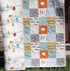 Boy Quilt, Feather River, Organic Rustic Camping, Nursery Bedding - Sunnyside Designs - 1