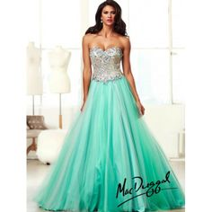 Mint Strapless A Line Long Prom Gown With Sparkling Silver Sequins