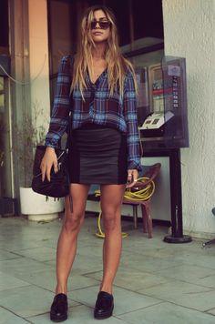 Plaid shirt and leather skirt