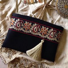 Black Faux Leather Clutch Ethnic Clutch Boho by BOHOCHICBYDAMLA