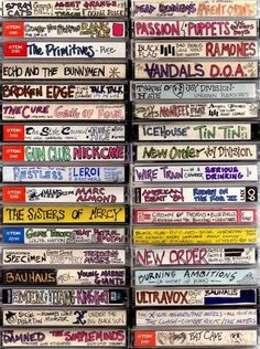 I adore these images of cassette tape spines lovingly labeled and decorated from the caveman days. I don't miss cassette tapes at all, but the bespoke folk art aspect of these is kind of funky fresh, you have to admit… Via Boing Boing Rock And Roll, Dark Wave, Arte Punk, Punk Art, Echo And The Bunnymen, Rock Poster, 80s Aesthetic, Joy Division, Lost Art