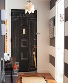 Cool front door!! drawn classical columns in chalkboard paint