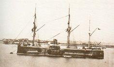 """Fragata Blindada """"Blanco Encalada"""", Esta nave y su gemela """"Cochrane"""" fueron adquiridas por Chile.  El Blando Encalada presto servicios a la Armada de Chile desde 1875 hasta 1891.  Durante la Guerra Civil (1891), esta nave se convirtio en el primer buque de guerra en el mundo en ser hundido por un torpedo autopropulsado."""